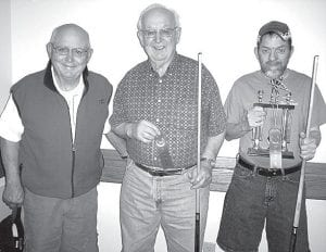 Winners of the April 2 pool tournament at Wyse Commons, Fairlawn Haven, are, from left: Marv Storrer, third place; Dale Gautsche, second; Tim Nofziger, first. Runs of the day: Storrer, run of six; Chuck Wyse, run of five. Shot of the day: Dave Schaffner, split shot, pocketing two balls. –courtesy photo