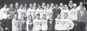 Members of the Archbold boys and girls track teams who swept the Tinora Invitational include, kneeling from left: Tressa Parsley, Kassidy Garrow, Jensyn Garrow, Demetria Martinez, Erin Erbskorn, Kinsey Smith, Ellie Sonnenberg, Jessica Lindsay, Jesse Fidler. Standing: Darin Sauder, Levi Wyse, Lee Klinger, Cory Rocha, Isaac Burkholder, Zach Belknap, Lincoln  Parsley, Jesse Rocha, Gavin Morton, Tyson Lersch, Jacob Fleischmann, Adrian Ramirez, Danny Young, Clayton Lehman, Hayden Stamm, TJ Gerken, Blake Drewes, Jacob Ott.– photo by Donald Young