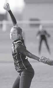 Delaney Nofziger winds up on the mound.– photo by Mary Huber