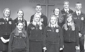 Pettisville FFA officers and assistants for 2012-13 are, front row from left: Hannah Meller, Annie Eicher, Brittany Hamilton, Katie Nofziger. Second row: Trisha Cousino, Chrysta Beck, Justin Pursel, Kelsey Weirauch, Tyler Herschberger, Nathan Spotts.– courtesy photo