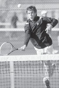 Blue Streak senior Kevin Fredrick is 9-0 in singles play after winning three matches last week.– photo by Mary Huber