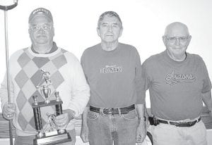 Winners of the April 12 shuffleboard tournament at Wyse Commons, Fairlawn, are, from left: Dave Schaffner, first place; Russ McQuillin, second; Marvin Storrer, third.– courtesy photo