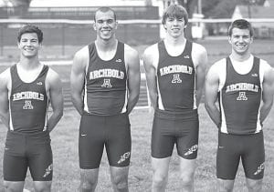The Archbold 4x400 team of TJ Gerken, Hayden Stamm, Blake Drewes, and Danny Young, from left, set a meet record. Also setting meet records was the 4x200 team of Jacob Ott, Stamm, Levi Wyse, and Young. Individually, Young broke the record in the 300-meter hurdles.– photo by Donald Young