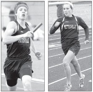 Jeremy Mann, left, was Pettisville's only boys winner. He was victorious in the 800. Tanner Hostetler, right, was a double winner for the PHS girls team. She placed first in the 800 and 1600.– photos by Jack Frey