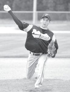 Travis Beck fires off a pitch. The senior was on the mound when the Birds lost a 5-4 non-league contest to Montpelier in eight innings last week.– photo by Mario Gomez