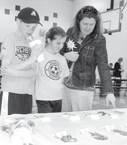 Ethan Hagans, a fourth grader; his sister Carsyn, a second grade student; and their mother, Cristin, Archbold, look over the creations.