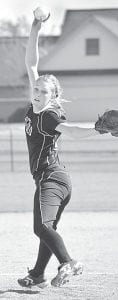 On the mound for Archbold, Hannah Kern winds up to pitch against Swanton.– photo by Mario Gomez