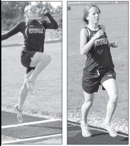 Amber Loar, left, won the long jump while Carley Hoffmire, right, placed fourth in the 1600 and 3200.