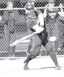 Blue Streak senior Morgan Cody makes contact with the ball. She was 2-3 at the plate against Montpelier.– photo by Mario Gomez