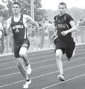 Archbold's Levi Wyse, left, won the 200 and Pettisville's Caleb Liechty, right, finished second at the Lamberson Invitational.– photo by Jack Frey