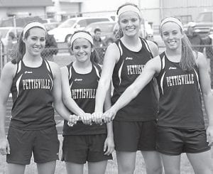Above: the Pettisville girls 4x400-meter relay team of Tanner Hostetler, Mikala Avina, Samantha Shinhearl, and Audra Klopfenstein won the event at the Lamberson Invitational. Left: Archbold's Kassidy Garrow takes off after Demetria Martinez hands off the baton in the 4x800 at the Lamberson Invitational. The Streaks placed fourth in the event.– photos by Jack Frey and Donald Young