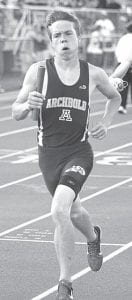 Alex Hurst, shown running in the Lamberson Invitational, was a member of the winning 4x800 relay at the Palmer Relays, Thursday, May 3.– photo by Donald Young