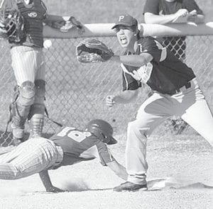 Pettisville third baseman Zach Pursel waits for the throw to try to tag out a Fayette player, but the Eagle beats the throw. Pettisville won the BBC contest, 7-3.– photo courtesy State Line Observer