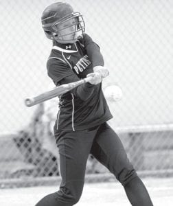Audra Klopfenstein hit two doubles and three singles in Pettisville's regular-season game with Hilltop, Thursday, April 26. The Birds beat the Cadets 5-2, Monday, May 7, at Stryker to win a Division IV sectional title.– photo by Mary Huber