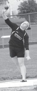 Brooke Waidelich finished third in the shot put.– photo by Jack Frey