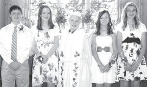 St. Peter Evangelical Lutheran Church, Ridgeville Corners, recently celebrated confirmation. Confirmed were, from left: Matt Benecke; Alli Lange; Vicky Coombs, pastor, center; Laura Gerken; and Bekah Eggers.– courtesy photo