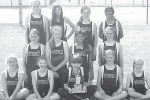 The Pettisville junior high girls track and field team won the Buckeye Border Conference championship last weekend. Front row, from left: Hannah Herring, Elizabeth Miller, Alayna Jones, Claire Foor, Alexa Leppelmeier. Middle row: Krystine Davis, Morgan Sauder, Becky Tilley, Amber Klopfenstein. Back row: Rebekah Steele, Alyssa Ramos, Laura Gerken, Kaylin Segrist. Absent: Fernanda Hernandez– courtesy photo