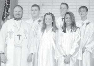 Confirmed at St. Martin's Lutheran Church, an Evangelical Lutheran Church in America congregation, Archbold, Sunday, May 6, were, from left: Paul Reichert, pastor; Braden Dunning, Richelle Avers, Will Collins, Amanda Reyes, Adam Grisier.– courtesy photo