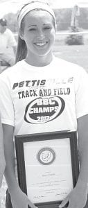 Blackbird senior Tanner Hostetler received the Fred Dafler Sportsmanship Award at the Div. III district track meet.– photo by Jack Frey