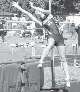 Rachel Wiemken makes an attempt in the high jump at the Div. III district meet.– photo by Jack Frey