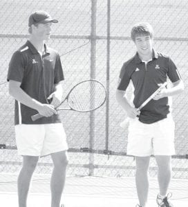 Nick Cassidy, left, and Kevin Fredrick finished fourth in the Div. II district doubles tournament at BGSU.– courtesy photo