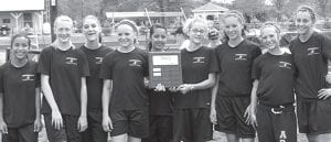 The Archbold Middle School girls team won the Northwest Ohio Athletic League track meet, Saturday, May 12. Participants included, from left: Mckenna Lantz, Morgan Miller, Delanie Driver, Shelby Cline, Itzyana Gaona, Emily Roth, Alicia Hernandez, Rebecca Schmucker, Miriam Beck. Missing: Julia Lambert, Maddy Smith, Cassi Wyse, Sydney Baynes.– courtesy photo