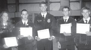 Pettisville FFA State Degree winners in 2012, are, from left: Taylor Kruse, Nathan Betz, Aaron Bruner, Travis Beck, and Arrin Short. They are seniors. To earn the State Degree, a member must meet all criteria of about 20 items related to supervised agricultural experiences, schoolwork and FFA leadership. The degree is awarded to about 3% of the Ohio membership each year.– courtesy photo