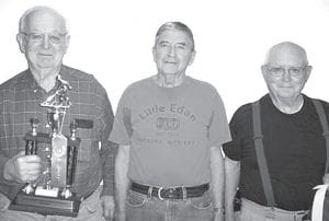 Winners of the May 9 shuffleboard tournament at Wyse Commons, Fairlawn Haven, are, from left: Dale Gautche, first place; Russ McQuillin, second; Marv Storrer, third.– courtesy photo