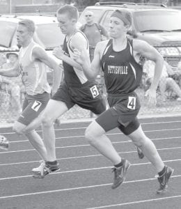 Pettisville's Jeremy Mann, right, runs to a seventh-place finish in the 800 at the Div. III regional track and field meet.– photo by Jack Frey
