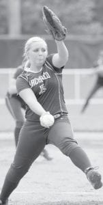 Blue Streak pitcher Hanna Allison winds up to deliver a pitch.– photo by Mary Huber