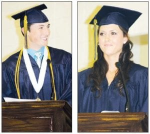 Chandler Tuckerman and Abby Short, members of the Archbold High School Class of 2012, were among those who received diplomas during ceremonies Sunday, May 27 in the AHS gym. The two were selected by their classmates to deliver the student addresses.– photos by David Pugh