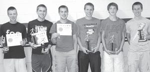 Pettisville boys track award winners, from left: Tim Iott, BBC scholar athlete; Caleb Liechty, coaches award, Buckeye Border Conference scholar athlete; Caleb Yoder, BBC scholar athlete; Jeremy Mann, most valuable runner; Ethan Brakefield, rookie award; Dominic Frey, coaches award. Missing: Dustin Lucas, rookie award; Austin Dykstra, most improved; Justin Pursel, BBC scholar athlete.– courtesy photo