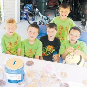 Youngsters held a bake sale and lemonade business during the North Pointe Estates garage sales, Thursday and Friday, June 7-8, to raise money for the ABC 4 Maddy Relay for Life team. From left: Cade Miller, 7; Mason Conway, 9; Tyler Hurst, 9; Jack Hurst, 7; and Molly Conway, 12. Not pictured Kennedy Hurst, 3 1/2.– photo by David Pugh