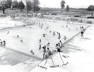 The landscape has changed at the Ruihley Park Swimming Pool, but the fun goes on today. Opening day, 1957, brought many youth to the pool. At bottom, from left, are cousins Lenny Miller and Chuck Mignin Jr., and Lenny's mom, Cindy. Walking at far right is one of Archbold's first lifeguards, Tom Mekus.– Antique photograph from the collection of Lenny Miller