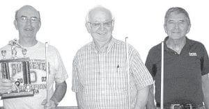Winners of the June 4 pool tournament at Wyse Commons, Fairlawn Haven, are, from left: Hank Schweinhagen, first place; Dale Gautsche, second; Russ McQuillin, third. Run of the day: Schweinhagen, run of 6.– courtesy photo