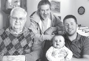About nine weeks after Max Fluckinger was born in late 2011, a four-generation photo was taken at Merlin and Nancy Fluckinger's home in Archbold. From left: great-grandfather Merlin; grandfather John, Bryan; Max, held by his father Chris, Port Clinton.– courtesy photo