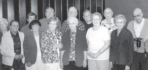 The Archbold High School Class of 1945 held its 67th reunion, Saturday, June 2, at The Home Restaurant. Front row, from left: Zelma (Short) Seiler, Margaret (Gigax) Detter, Margaret (Barber) Clifford, Anna Rose (Nofziger) Kiesow, Corrine Gaylord, Gertrude (Seiler) Hitt. Back row: Margaret (Keifer) Bollman, Doris (Sauder) Yoder, Charles Lugbill, Don Rupp, Marvin Tex Wyse, Ralph Aschliman, Marlin Wyse.– courtesy photo