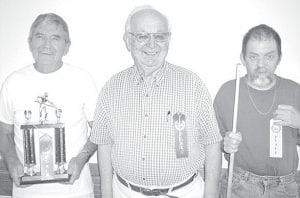 Winners of the Aug. 6 pool tournament at Wyse Commons, Fairlawn Haven, are, from left: Russ McQuillin, first place; Dale Gautsche, second; Tim Nofziger, third. Best shots of the day: Roger Bell and Gautsche. Run of the day: Gautsche, run of four.– courtesy photo