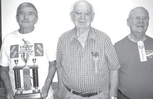 Winners of the Aug. 8 shuffleboard tournament at Wyse Commons, Fairlawn Haven are, from left: Russ McQuillin, first place; Dale Gautsche, second; Robert Grieser, third. Best shot of the day: Grieser. Best defensive shot: Gautsche.– courtesy photo