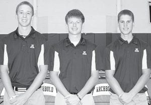 Stuart Wyse, Zach Short, and Kevin Boyers, from left, are the three letterwinners back on the AHS golf team.– photo by Mary Huber