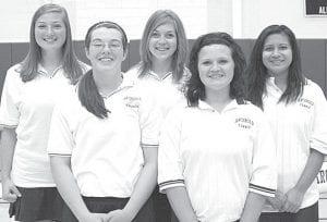 Five letterwinners return on the AHS girls tennis team. From left: Olivia Krieger, Krista Leupp, Jessica Lindsay, Madison Meyer, Yvette Gutierrez.– photo by Mary Huber