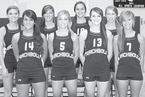 Letterwinners returning on the AHS volleyball team are, front row from left: Maddie Short, Taylor Coressel, Rachel Brader, Jessie Walker. Back row: Desi Newman, Darian Oberlin, Jenny Lehman, Becca Gerig.– photo by Mary Huber