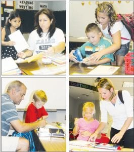 The Archbold Elementary School hosted an open house for students and parents, Monday night, Aug. 20, two days before the first day of school, which is today. Top left: Anahi Garcia, 6, first grade, and her mother Susana, go through some paperwork. Top right: Kiera Gensler, fourth grade, helps her brother, Jayden, a kindergarten student, with his pencil box. Bottom left: Cade Miller, second grade, and his father, Brad, fill out a form. Bottom right: Carlee Meyer, 8, and her mother, Crystal, go over a checklist.– photos by David Pugh