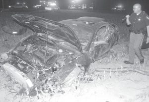 Wesley Nartker was driving this car when the vehicle crashed about 9 pm, Sunday night, Aug. 19. Nartker, a 16-year-old Pettisville High School junior, was listed in critical condition Monday at Toledo Children's Hospital. The crash occurred on Co. Rd. A, west of Co. Rd. 21. ALS-1 and Archbold Rescue were called to the crash scene. Rescuers discovered Nartker had been thrown from the vehicle. He was transported to the Fulton County Health Center, then flown by helicopter ambulance to Toledo Children's Hospital. Mike Lane, PHS principal, said Nartker's injuries are serious, but there is a favorable outlook for recovery. Nartker's accident will be discussed with PHS students on the first day of school, today, Wednesday, to quell rumors about his condition.– photo by David Pugh