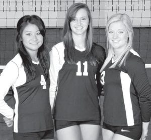 Returning letterwinners on the Pettisville volleyball team are, from left: Ashlynn Waidelich, Dana Fricke, and Emily Hubby.– photo courtesy A New Image Photography