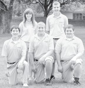 Letterwinners on the Pettisville golf team are, front row from left: Reed Behnfeldt, Tyler Herschberger, Greg Kempf. Back row: Angela Austin, Ben Graber.– photo courtesy A New Image Photography