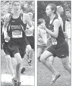 Tanner Rufenacht, left, was the second Pettisville runner across the finish line in the boys race at the Tiffin Carnival while Grace Friend, right, was the second Blackbird to finish in the girls race.– photos by Jack Frey