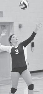 Emily Hubby served two aces against Fairview in the Kalida Invitational and had 29 kills in Pettisville's three matches.– photo by Mario Gomez