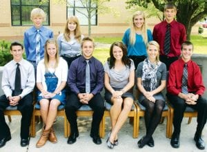 Members of the 2012 Archbold High School Homecoming Court are, front row, from left: Matthew Kinsman, freshman escort; Madison Kohler, freshman attendant; Seth Yoder, king; Tressa Parsley, queen; Kassidy Garrow, senior attendant; Bryce Tinsman, senior escort. Second row: Zach Meyer, sophomore escort; Michaela Zaborniak, sophomore attendant; Marli Fryman, junior attendant; Peter Schoenhals, junior escort. Homecoming festivities begin with a bonfire Tuesday evening, Sept. 25, followed by the Homecoming football game against Montpelier, Friday, Sept. 28, and a dance Saturday night, Sept. 29.– photo by David Pugh