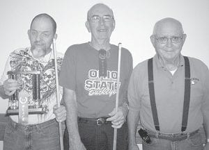 Winners of the Oct. 1 pool tournament at Wyse Commons, Fairlawn Haven, are, from left: Tim Nofziger, first; Hank Schweinhagen, second; Marv Storrer, third. Runs of the day: Dave Schaffner and Schweinhagen, both with six. Shots of the day: Omar Gnagey and Schaffner.– courtesy photo